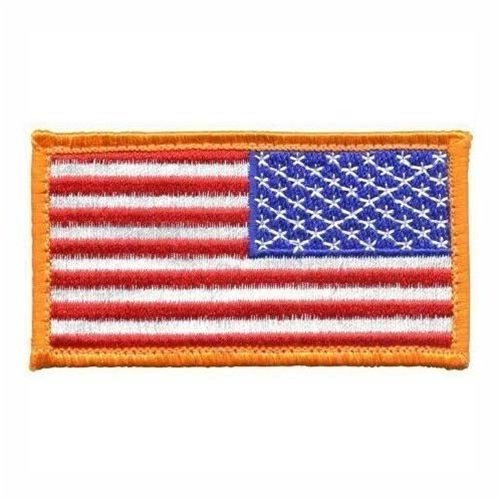 American US Flag REVERSED Patch Gold Border