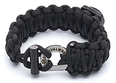 #1 BEST Paracord Bracelet - Survival WRAPS Emergency Paracord Bracelet - Adjustable-Size Paracord Bracelet with Fire Starter, Compass, and more! from SharpSurvival