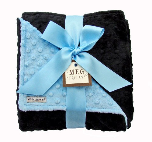 Meg Original Minky Dot Blanket 30X27 Blue/Black front-1055700