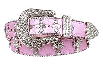 Western Rhinestone Cross Decoration Genuine Leather Belt Size: S/M - 34 Color: Pink