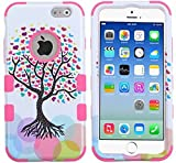 myLife Multi-colored and White {Bright Colored Fashionable Tree Design} Neo Hybrid Armor Case for the NEW iPhone 6 (6G) 6th Generation Phone by Apple, 4.7″ Screen Version (Two External Snap On Hard Protector Plates + Full Body Internal Soft Silicone Bumper Gel Protection)