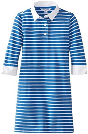 Brooks Brothers Big Girls' Three-Quarter Sleeve Striped Pique Rugby Dress, VallartaBlue, Medium