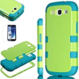 Pandamimi ULAKTM 3in1 Green Hybrid High Impact + Blue Silicone Case Cover For Samsung Galaxy S3 III I9300 W/Screen Guard+Stylus