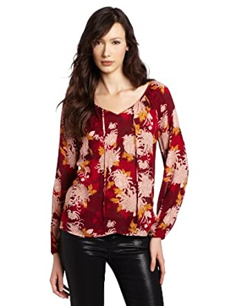 Lucky Brand Women's Rhiannon Printed Woven Blouse, Red Multi, X-Large