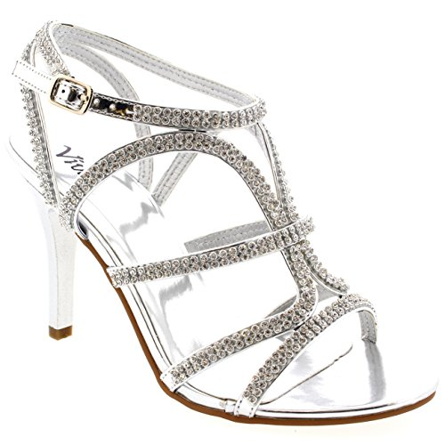 Womens T-Bar Wedding Evening Prom Diamante Bride Low Mid Heel Sandals - Silver - 8 - 39 - CD0166E