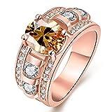 [ノーブランド] レディース リング Ladies Ring Multicolor A Row Of Diamonds ローズゴールド 金メッキ SSP-KZCR323-B-USA7 [並行輸入品]