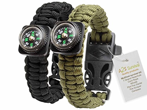 1# BEST Value For Money A2S Survival Kit Paracord Bracelet Set of 2 with Compass Flint Fire Starter, Stainless Fire Scraper, Emergency Whistle (Black / Army Green) (Fishing Stocking Stuffers compare prices)