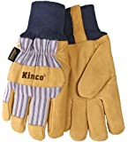 Kinco Pigskin Leather HeatKeep Thermal Knit Wrist Work Gloves (Tan/Blue)