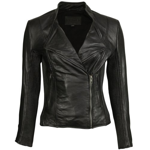 VIPARO Black Asymmetrical Ribbed NZ Lambskin Leather Jacket - Whitney