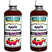 Neuherbs 100% Natural Apple Cider Vinegar With Mother Of Vinegar - 500ml - Pack Of 2 - Free Nutrition Consultation...