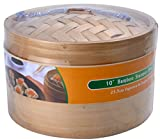 Premium Bamboo Steamer 10 Inch, 2-tier 3 Piece Set,made of Natural Bamboo,good for Steam Vegetable,dim-sum,buns and Dumpling