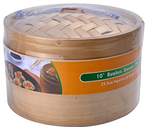 Premium Bamboo Steamer 10'' Inch, 2-Tier 3 Piece Set,Made Of Natural Bamboo,Good For Steam Vegetable,Dim-Sum,Buns And Dumpling front-604994
