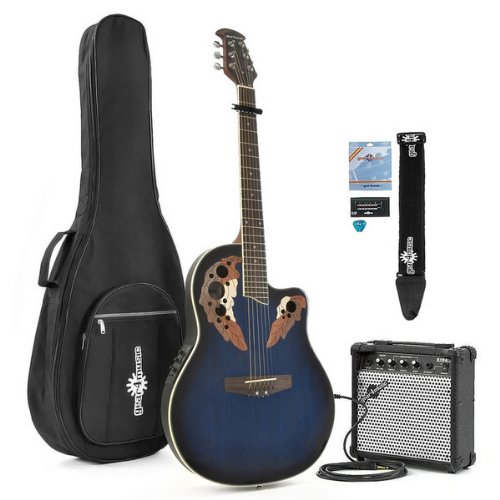 Deluxe Round Back Guitar and 15W Amp Pack Blue