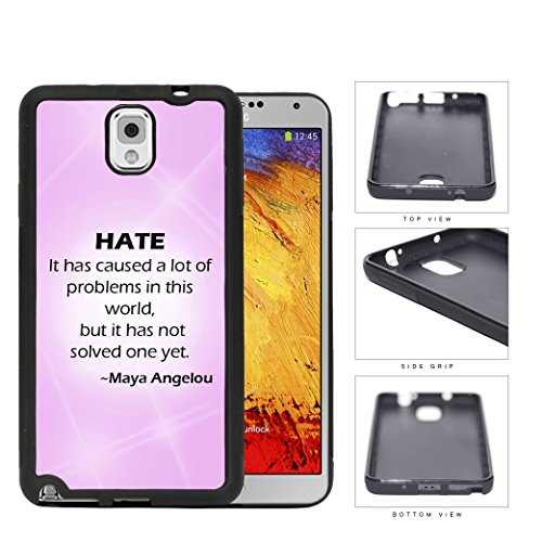 """Maya Angelou """"Hate"""" Quote With Pink Gradient And Flares Samsung Galaxy Note Iii 3 N9000 Rubber Silicone Tpu Cell Phone Case"""