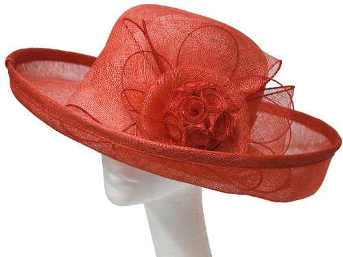 Womens New Beautiful and Elegant Sinamay Fashion Hat Detailing Large Bow and Flower Mesh. Ideal For Weddings, Ascot, Races and Other Special Occasions. Available in Natural Cream, Gold and Red Colours.