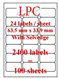 LPC- 2400 mini address labels (100 sheets), 63.5mm x 33.9mm with selvegde. 100% compatible with AVERY software. 24 labels per sheet