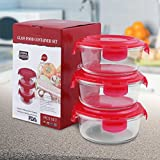 Glass Food Storage Container Set - Round - 620 ml - Red - BPA Free - FDA Approved - Reusable - Multipurpose Use for Home Kitchen or Restaurant - (3 Piece) - by Utopia Kitchen