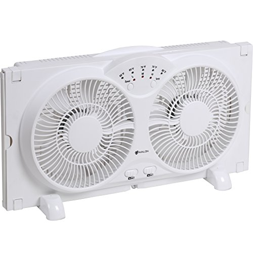 Avalon Twin Window Fan with 9 Inch Blades, High Velocity Reversible AirFlow Fan, LED Indicator Lights Adjustable Thermostat & Max Cool Technology, ETL Certified (Exaust Fan Duct compare prices)