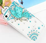 Handmade Luxury Designer Bling 3D Colorful Special Crystal Angle Wing Genius Case Cover For Apple iPhone Smart Mobile Phones (iPhone 5C, Mint) Reviews