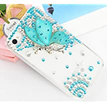 Handmade Luxury Designer Bling 3D Colorful Special Crystal Angle Wing Genius Case Cover For Apple iPhone Smart Mobile Phones (iPhone 5C, Mint)
