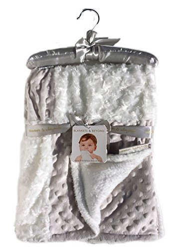 Blankets & Beyond Rosette and Dots Baby Blanket, Light Grey and White W/ Decorative Satin Hanger - 1