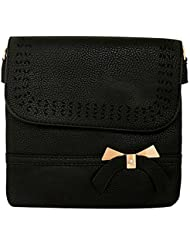 Women's Handbag Cutwork Bow Sling Bag Messenger Bag Medium Size (Black)