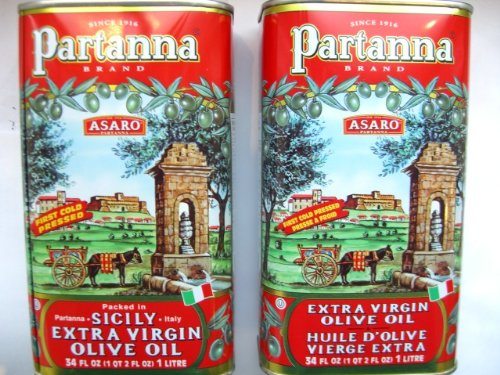 Partanna Extra Virgin Olive Oil 1 Liter (34-ounce) Can (Pack of 2) by 