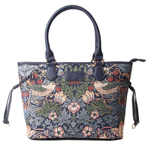 Signare Tapestry Bag Tote Bag / Shoulder Bag with William Morris Strawberry Thief Design (Blue) - 1
