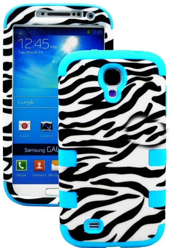 "Mylife Electric Sky Blue - Zebra Stripes Print Design (3 Piece Hybrid) Hard And Soft Case For The Samsung Galaxy S4 ""Fits Models: I9500, I9505, Sph-L720, Galaxy S Iv, Sgh-I337, Sch-I545, Sgh-M919, Sch-R970 And Galaxy S4 Lte-A Touch Phone"" (Fitted Front An"