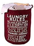 HOKIPO 63-Litre European Pattern 'Laundry Rules' Folding Round Laundry Bag. (Wine Red)
