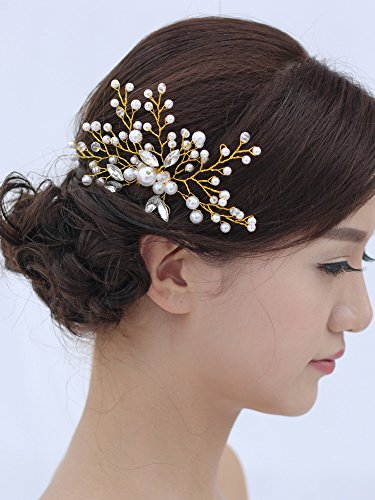 Venusvi Vintage Wedding Hair Combs with Bead and Rhinestones - Bridal Headpiece for Bridesmaids 4