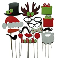La Vogue 17PCS DIY Photo Booth Christmas Party Favor Funny Props Glasses Hats Beards Gifts