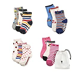 CZCCZC Baby Toddler Non-skid Anti Slip Skid foot Socks Baby Footsocks Sneakers (Style 5(12 Pairs))