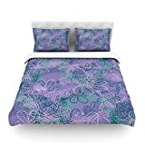"Kess InHouse Patternmuse ""Jaipur Juniper"" Blue Lavender Cotton Duvet Cover, 88 by 104-Inch"