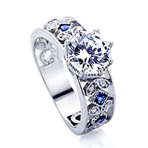 Platinum Plated Sterling Silver Wedding & Engagement Ring Blue Stone Accented, Octagon Cut 2Carat Cubic Zirconia ( Size 5 to 9) from Double Accent