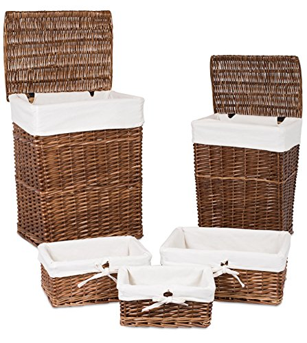 BirdRock Home Woven Willow Baskets with Liner | Set of 5 | Rectangular Hampers and Storage Bins with Lids | Decorative Wooden Wicker Baskets | Organizer | Natural (Brown) (Lined Wicker Basket With Lid compare prices)