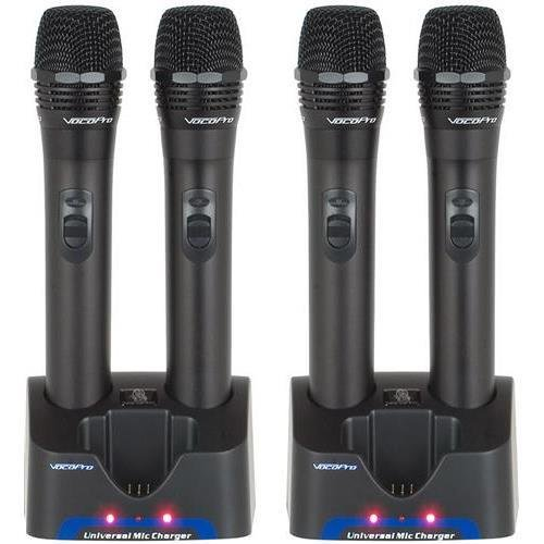 VOCOPRO UHR-4 4 UHF Handheld Rechargeable Microphones with Charging Stations