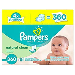 Pampers Baby Wipes Natural Clean 5X Refill, One Month Supply, 360 count