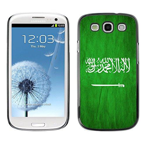 Omega Case Strong & Slim Polycarbonate Cover - Samsung Galaxy S3 Iii I9300 ( Saudi Arabia Grunge Flag )