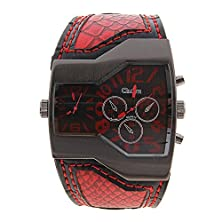 buy Super Fashion Oulm Brand Dual Japan Quartz Watch Snake Strap Steel Clcok Male Military Man Sports - Red