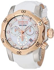 Invicta Women's 0952 Venom Reserve Chronograph White Mother-Of-Pearl Dial White Leather Watch
