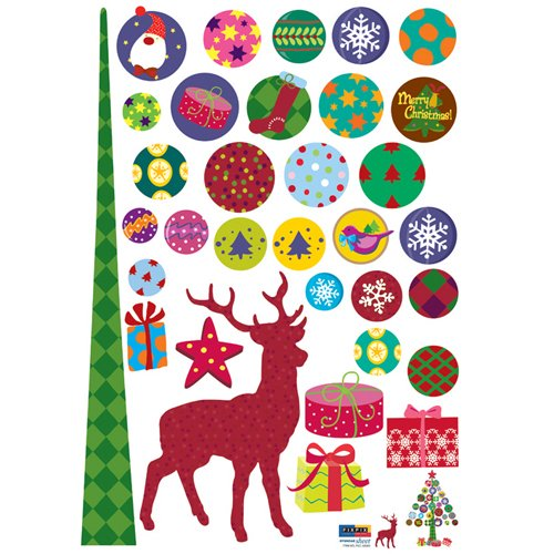 Christmas Holiday Time Reusable Wall Decoration Stickers - Forest Christmas Stag