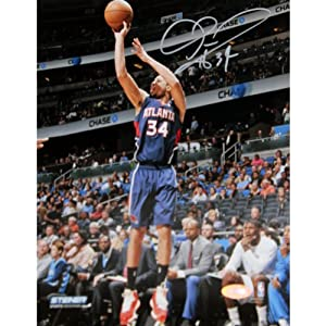 Devin Harris Atlanta Hawks Three Point Shot in Blue Jersey Signed 8x10 Photo by Steiner Sports