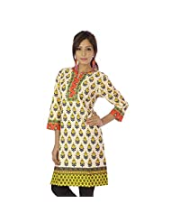 Jaipur RagaExclusive Rajasthani Bagru Hand Block Printed Beige Pure Cotton Kurti