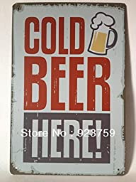 MOUSE POSTER STAR Cold beer here Tin Sign Bar pub home Wall Decor Retro Metal Art Poster NW12