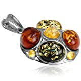 Multicolor Amber Sterling Silver New Medium Pendant Rolo Chain 18""