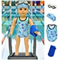 Swim Team Star Swimsuit Set for American Girl Dolls: Includes Swim Cap, Goggles, Towels and Bathing Suit by Lilly and the Bee Novelties (TM)