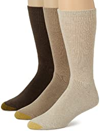 Gold Toe Men\'s Uptown Crew 3 Pack Socks, Multi, Sock Size 10-13/Shoe Size 6-12.5