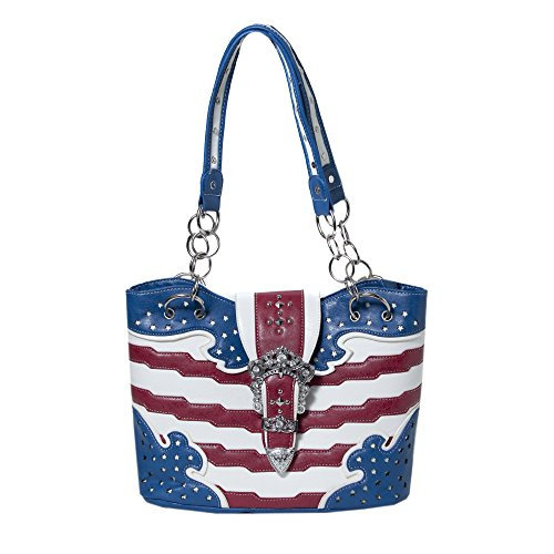 Shoulder Tote Purse, USA Stars & Stripes, Gun Concealment Pocket, Bling Buckle