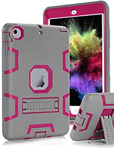 iPad mini Case,iPad mini 2 Case,iPad mini 3 Case,iPad mini Retina Case,TOPSKY(TM)[Kickstand Feature],Shock-Absorption / High Impact Resistant Hybrid Three Layer Armor Defender Full Body Protective Case Cover with Stylus and Screen Protector,Grey/Pink